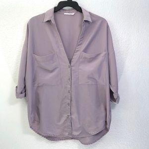 Lush Oversized Pocket Button Down Shirt